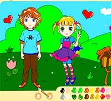 Раскраска онлайн в стиле аниме «Влюбленные»