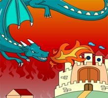 Музыкальная онлайн раскраска с замком и драконом