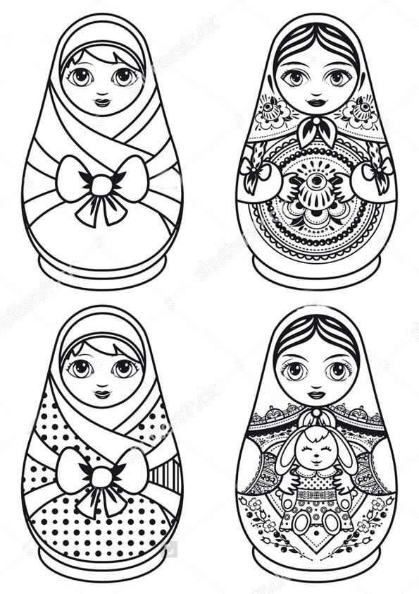 Матрешка - раскраски для детей