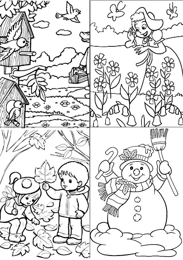 Раскраски: Времена года для детей