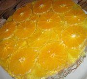 Торт из бисквитных коржей с желе и фруктами